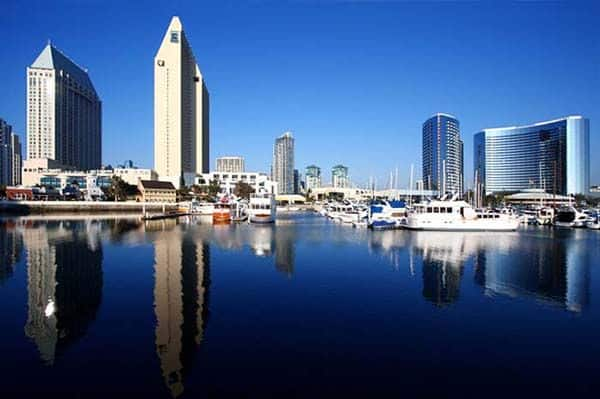 San Diego marina with hotels in background