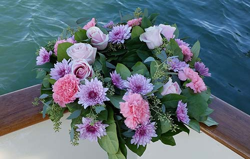 Wreath of Pink Roses for Scattering at Sea - Sea Burial